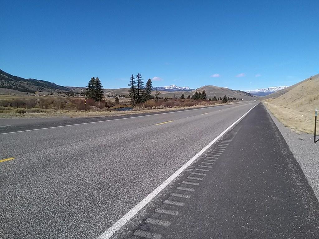 empty highway in Wyoming